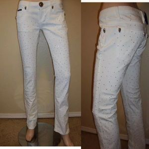 Philipp PLEIN White Crystal embellished Jeans M